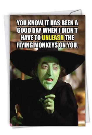 Funny Birthday Paper Greeting Card from NobleWorksCards.com - Flying Monkeys