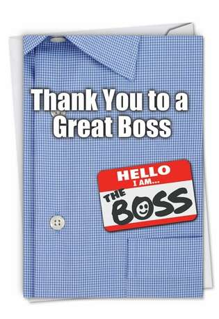 Hilarious Thank You Paper Card from NobleWorksCards.com - Thank You to a Great Boss
