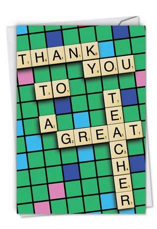 Funny Teacher Thank You Printed Card from NobleWorksCards.com - Thank You to a Great Teacher