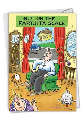 Hilarious Birthday Paper Greeting Card by Daniel Collins from NobleWorksCards.com - Fartjita Scale