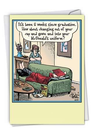 Hysterical Graduation Paper Card by Dan Piraro from NobleWorksCards.com - Six Weeks