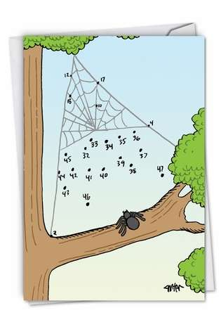 Funny Birthday Greeting Card by Jon Carter from NobleWorksCards.com - Spider Numbers