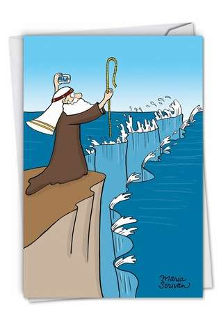 Funny Birthday Printed Greeting Card by Maria Scrivan from NobleWorksCards.com - Moses Selfie