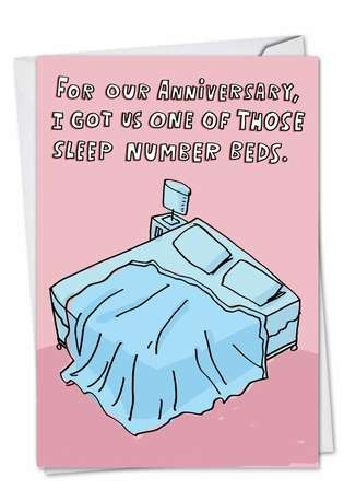 Funny Anniversary Printed Greeting Card by Stanley Makowski from NobleWorksCards.com - Sleep Number Bed