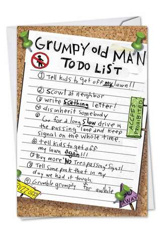Humorous Birthday Printed Card by Mike Shiell from NobleWorksCards.com - Grumpy Old Man List