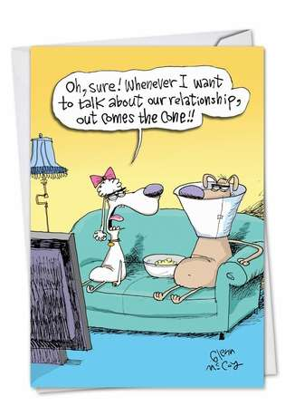 Hysterical Anniversary Paper Greeting Card by Glenn McCoy from NobleWorksCards.com - Talk Cone