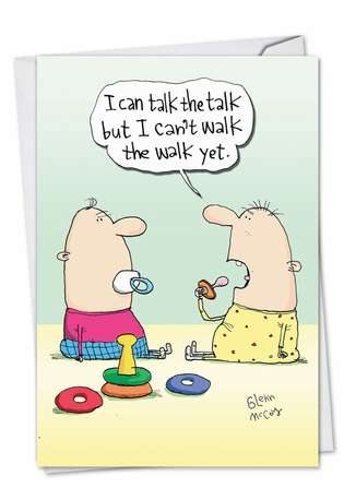 Humorous Baby Greeting Card by Glenn McCoy from NobleWorksCards.com - Talk The Talk