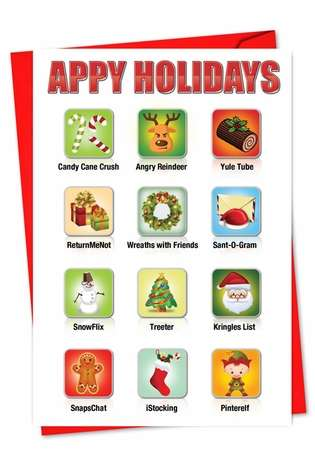 Hilarious Christmas Greeting Card from NobleWorksCards.com - Appy Holidays