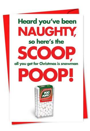 Hilarious Christmas Paper Card from NobleWorksCards.com - Snowman Poop