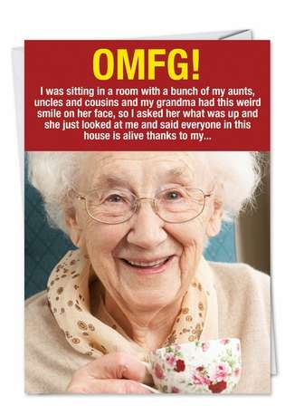 Hysterical Birthday Printed Card from NobleWorksCards.com - Weird Grandma
