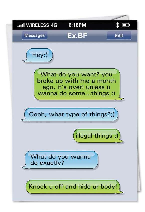 Ex Boyfriend Text Red Rocket Birthday Greeting Card Nobleworks