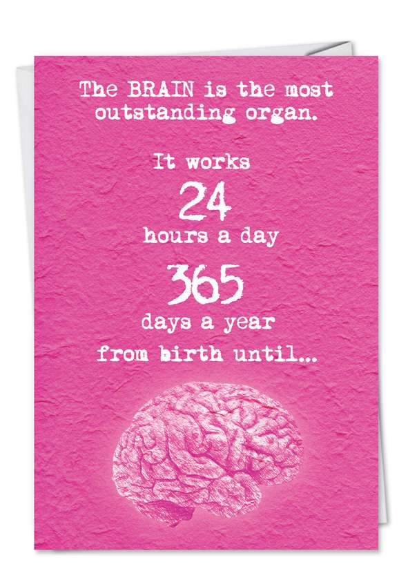 Funny Valentine's Day Paper Card from NobleWorksCards.com - Brain Fall In Love