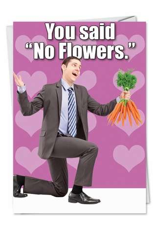 Funny Valentine's Day Printed Card from NobleWorksCards.com - You Said No Flowers
