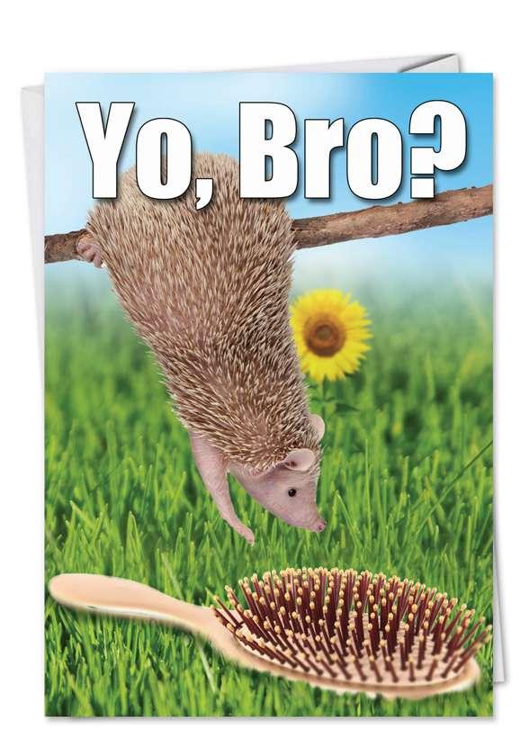 Humorous Birthday Greeting Card from NobleWorksCards.com - Bro Brush