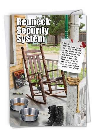Humorous Birthday Printed Card from NobleWorksCards.com - Redneck Security System