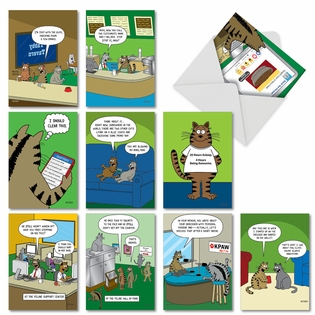 Scott Metzger's Cat Toons: Hilarious Birthday Assorted Set of 10 Cards