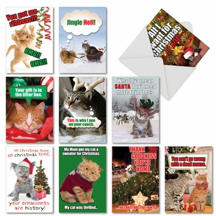 Funny Christmas Greeting Card from NobleWorksCards.com - PetiGreet Cats Christmas