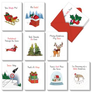 Stylish Merry Christmas Card From NobleWorksCards.com - Punny Holidays