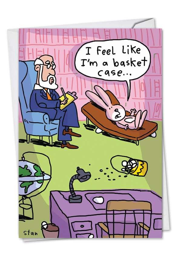 Basket Case: Humorous Easter Printed Greeting Card