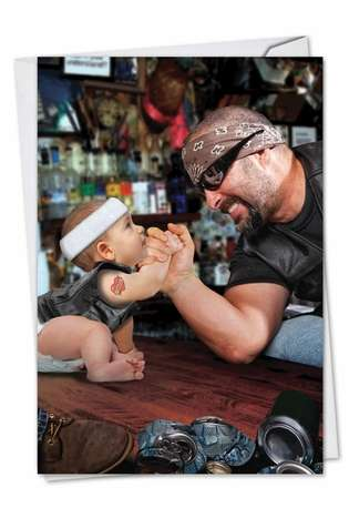 Humorous Father's Day Printed Card from NobleWorksCards.com - Baby Arm Wrestle
