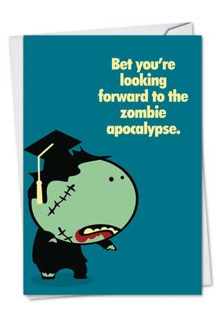 Funny Graduation Greeting Card from NobleWorksCards.com - Zombie Graduate