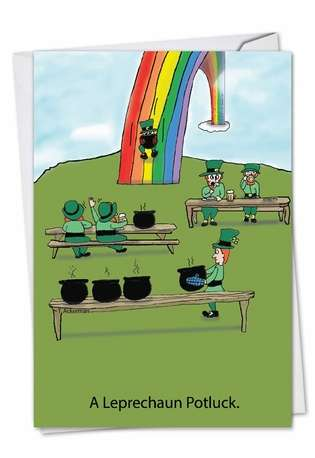 Funny St. Patrick's Day Greeting Card by Todd Ackerman from NobleWorksCards.com - Leprechaun Potluck
