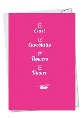 Funny Valentine's Day Printed Card from NobleWorksCards.com - Check Your Box