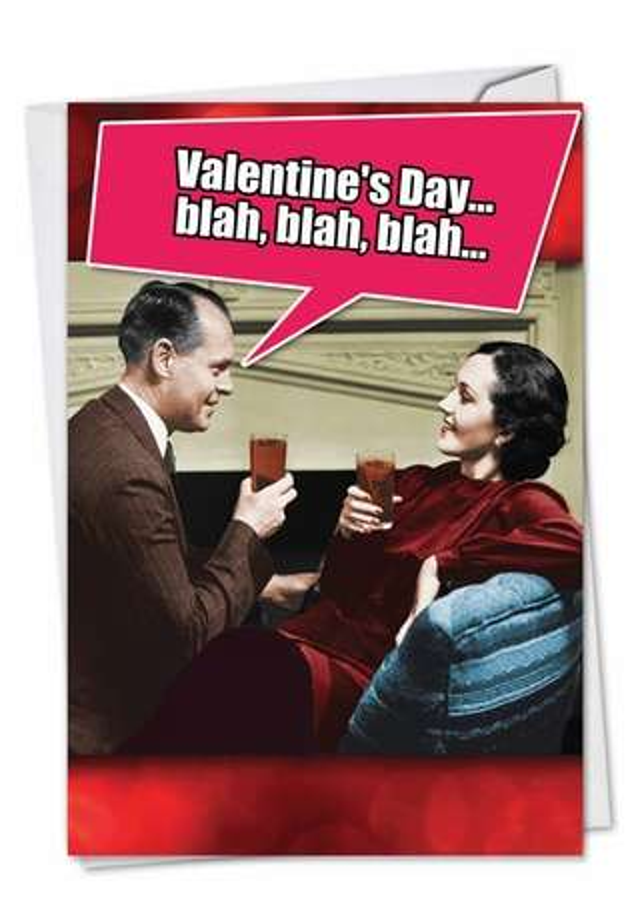 Blah Blah Blah: Funny Valentine's Day Printed Card