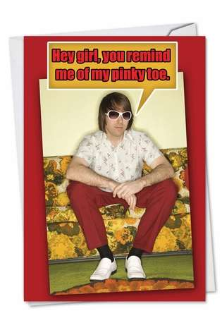 Hilarious Valentine's Day Printed Card from NobleWorksCards.com - Pinky Toe