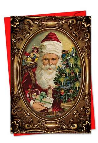 Creative Christmas Paper Greeting Card from NobleWorksCards.com - Picture-Perfect Santas