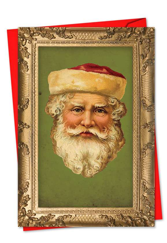 Stylish Christmas Printed Greeting Card from NobleWorksCards.com - Picture-Perfect Santas