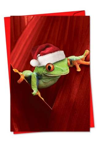 Creative Christmas Greeting Card from NobleWorksCards.com - Yule Frogs