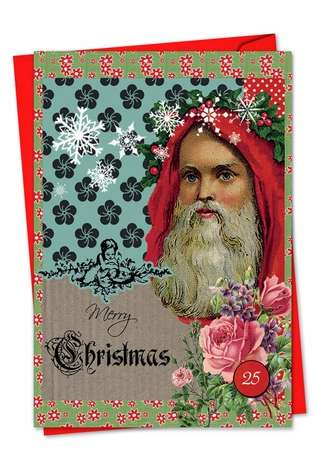 Stylish Christmas Printed Greeting Card by Veronique Duhamel from NobleWorksCards.com - A Rosy Christmas