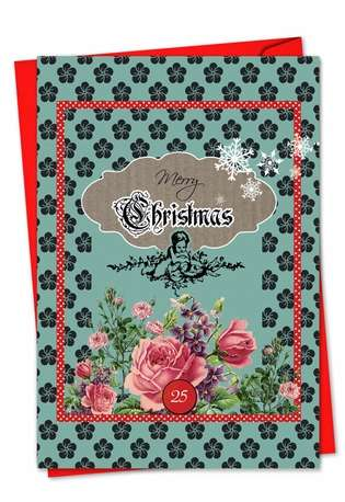 Creative Christmas Paper Card by Veronique Duhamel from NobleWorksCards.com - A Rosy Christmas