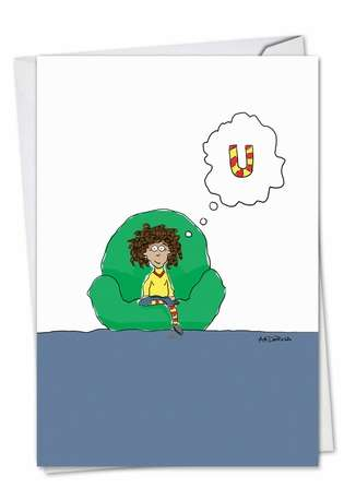 Hysterical Miss You Greeting Card by Ann Marie DeRosa from NobleWorksCards.com - Thinking of U