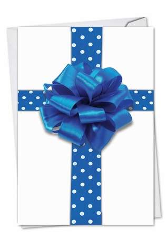 Creative Hanukkah Paper Greeting Card from NobleWorksCards.com - Beribboned in Blue