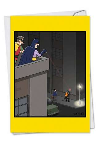 Humorous Birthday Paper Card by Tim Whyatt from NobleWorksCards.com - Catwoman Prank