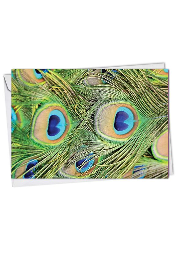 Stylish Birthday Paper Greeting Card from NobleWorksCards.com - Fancy Feathers