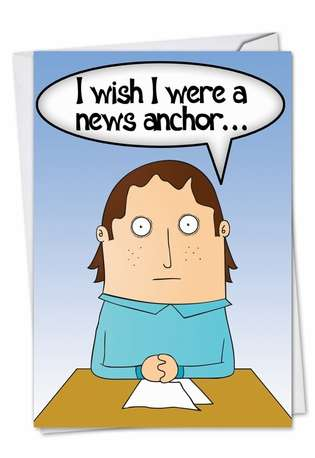 News Anchor: Humorous Anniversary Paper Card