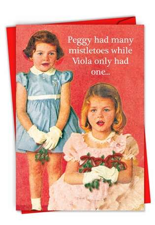 Funny Merry Christmas Paper Card From NobleWorksCards.com - Peggy Is a Wh*re