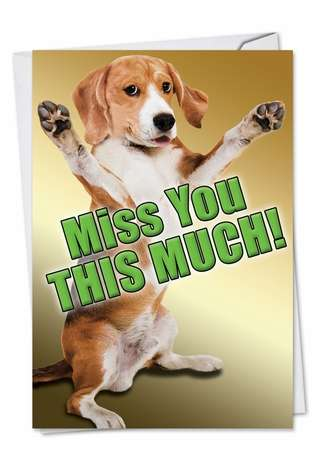 Hilarious Miss You Paper Greeting Card from NobleWorksCards.com - Miss You This Much Dog