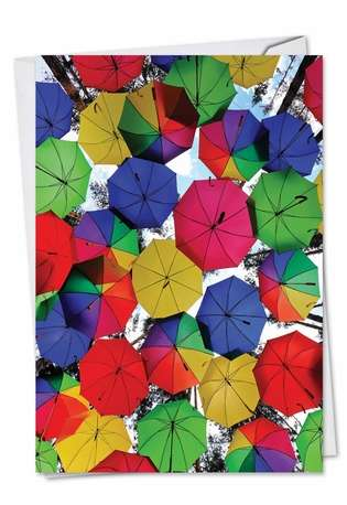 Stylish Blank Paper Greeting Card from NobleWorksCards.com - Flying Umbrellas