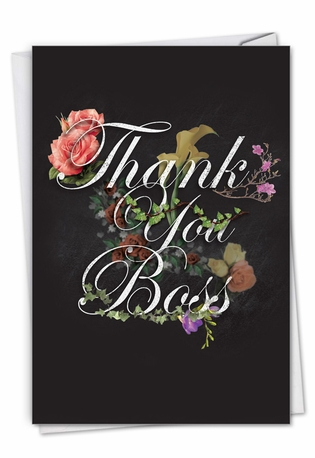 Stylish Boss Thank You Card From NobleWorksCards.com - Chalk and Roses
