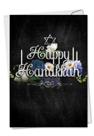 Creative Hanukkah Printed Card from NobleWorksCards.com - Chalk And Roses