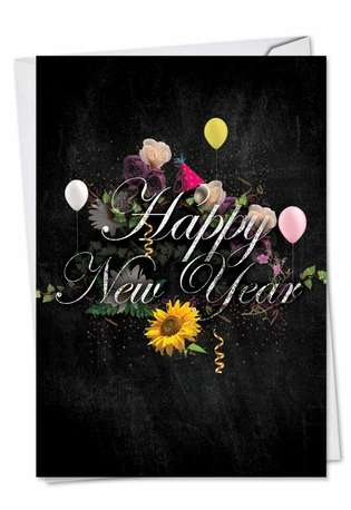 Stylish New Year Paper Greeting Card from NobleWorksCards.com - Chalk And Roses