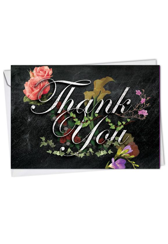 Creative Thank You Printed Greeting Card from NobleWorksCards.com - Chalk And Roses