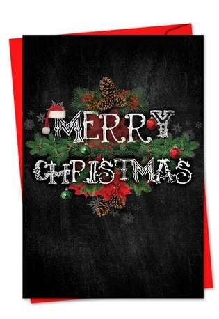 Stylish Christmas Printed Greeting Card from NobleWorksCards.com - Chalk And Roses