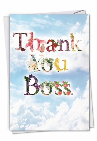 Stylish Boss Thank You Paper Card From NobleWorksCards.com - Thanks A Bunch