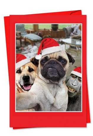 Creative Christmas Printed Greeting Card from NobleWorksCards.com - Holiday Animal Selfie