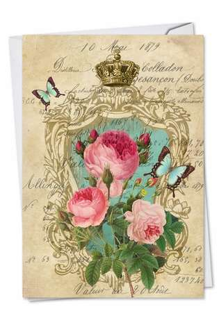 Creative Birthday Paper Greeting Card by Batya Sagy from NobleWorksCards.com - Romance And Roses